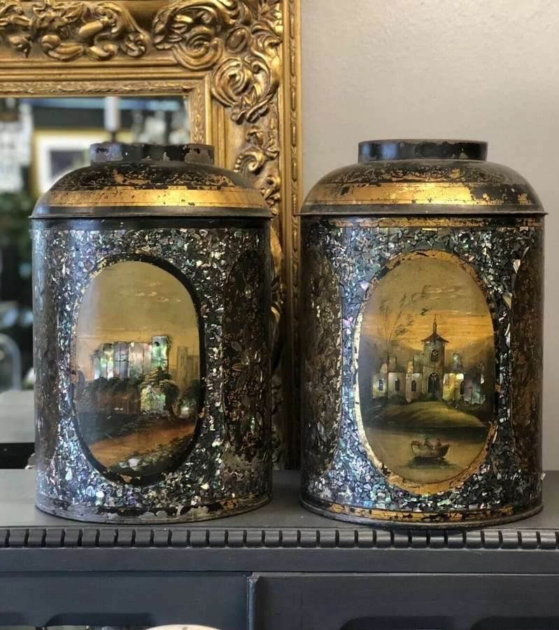 A Pair Of Victorian Tole Cannisters With Mother Of Pearl Inlay