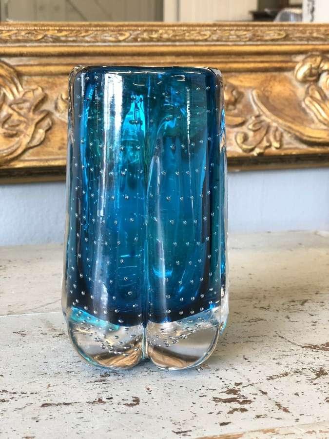 Whitefriars Geoffrey Baxter Lobed Vase in Blue