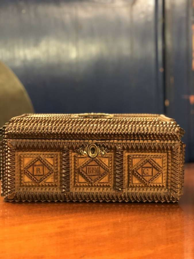Antique 19th Century Tramp Art Jewellery Box