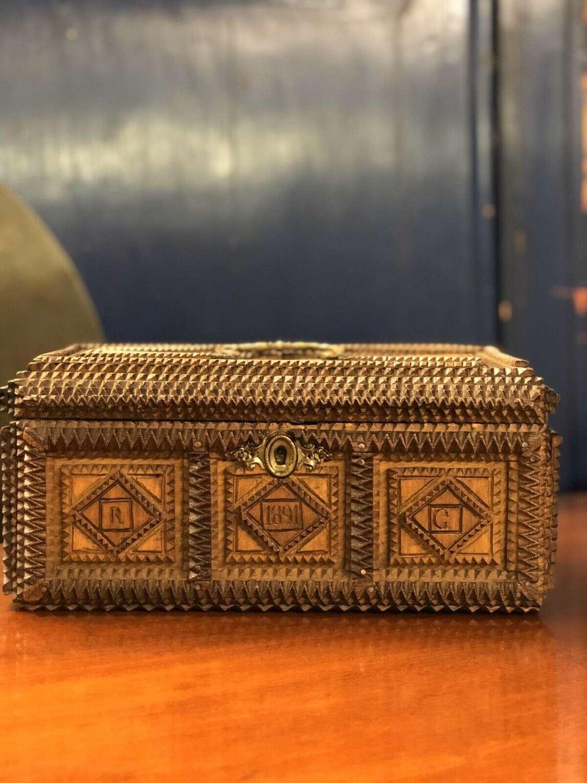 Antique 19th Century Tramp Art Jewellery Box