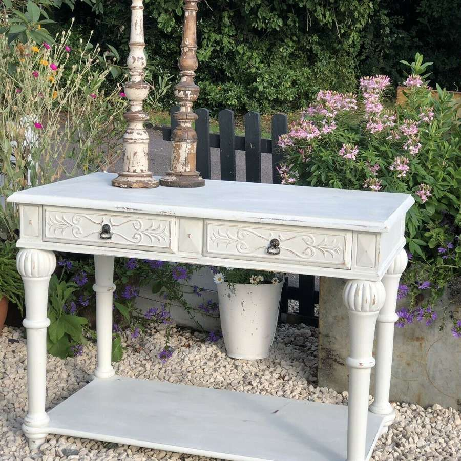 French Style Shabby Chic Sofa Side Table Cream Painted.