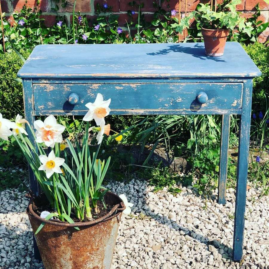 Antique Victorian Blue Painted Pine Side Table c.1880