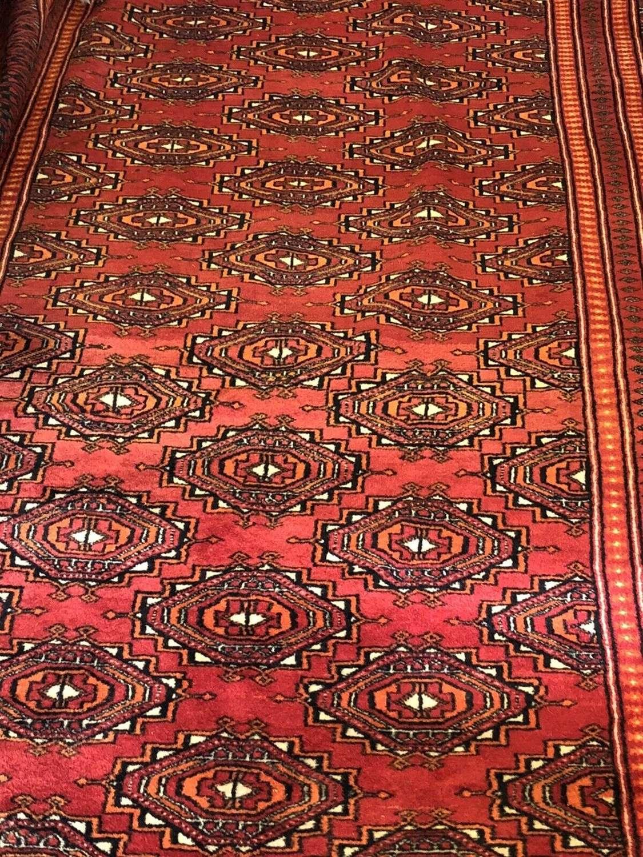 Vintage Turkomen Rug Red Ground.