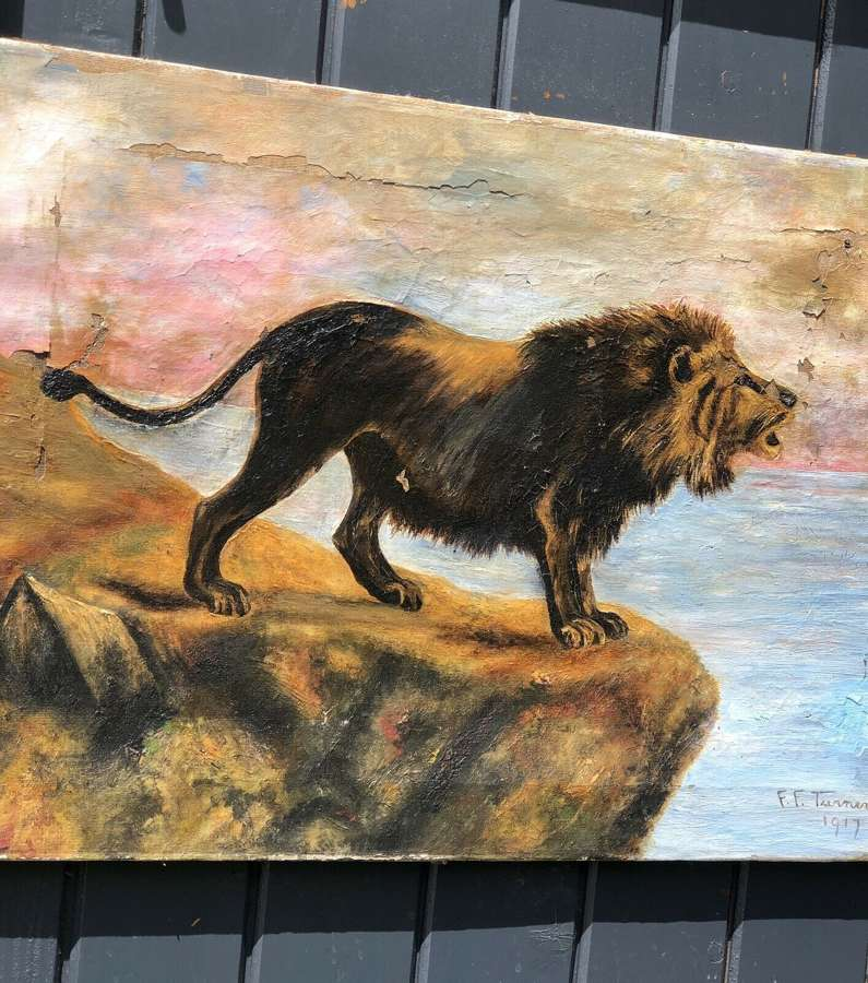 1917 lion oil painting