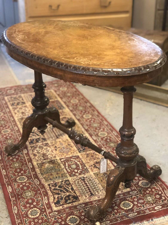 Antique Walnut Burr Table English Victorian Circa 1860.