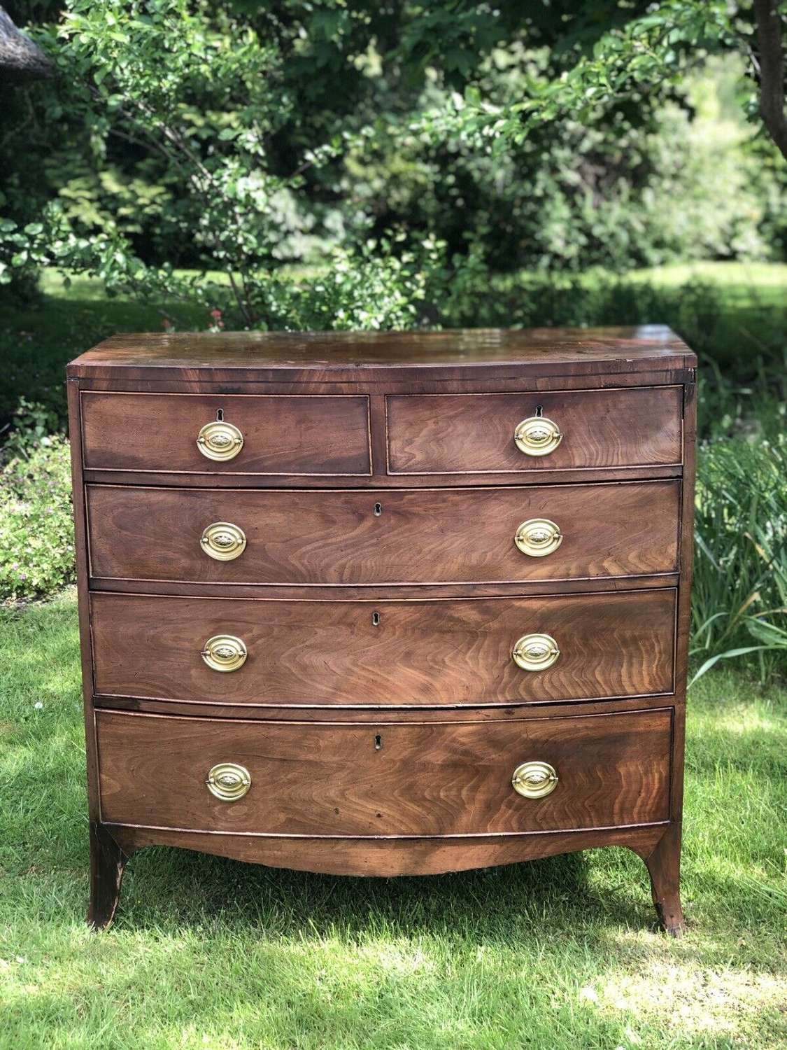 Regency bow fronted mahogany chest of drawers 1820.