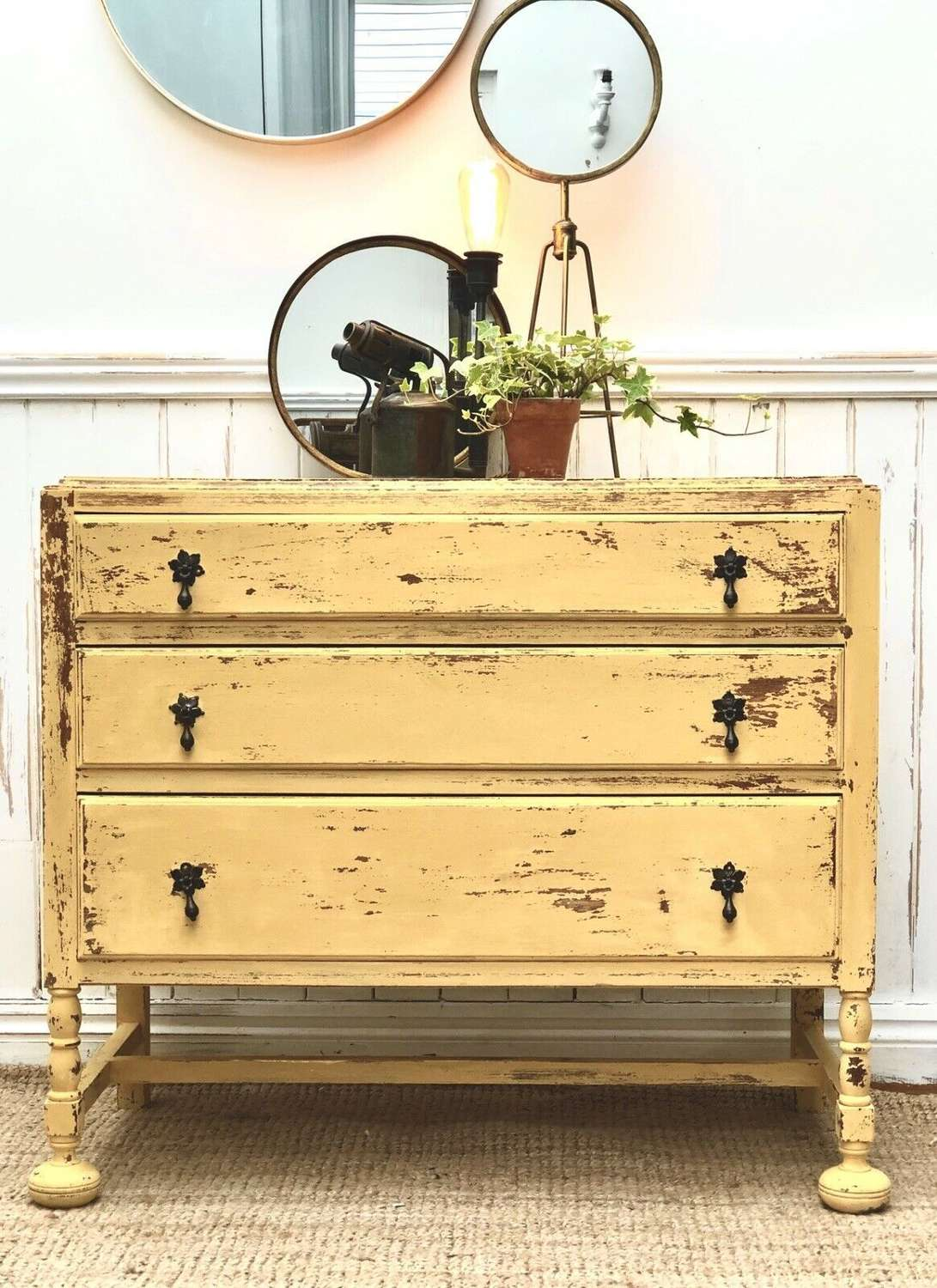 Vintage Painted Oak Chest Of Drawers Shabby Chic Yellow