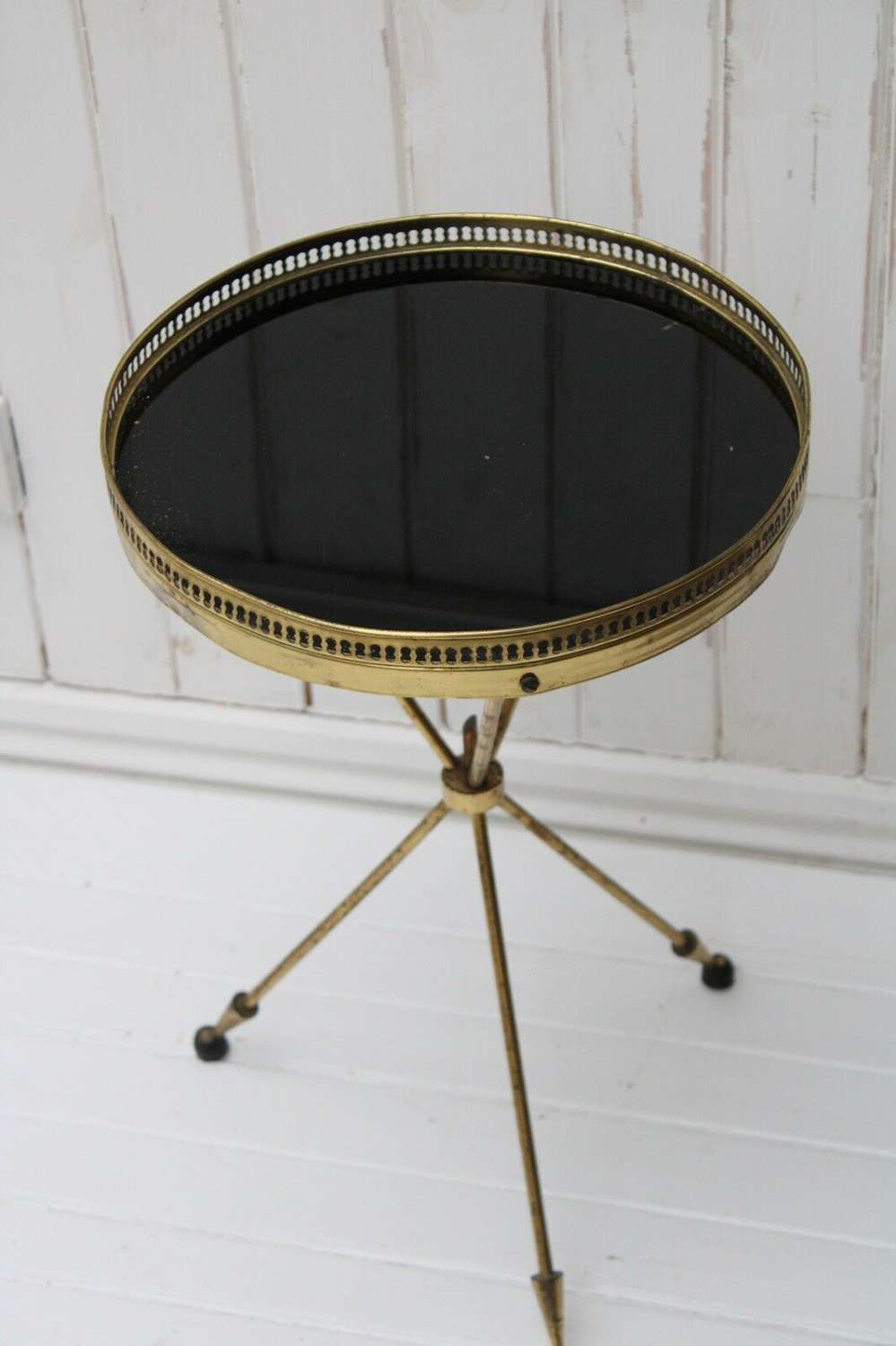 Antique brass and marble table