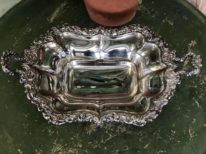Silver plate bon bon dish