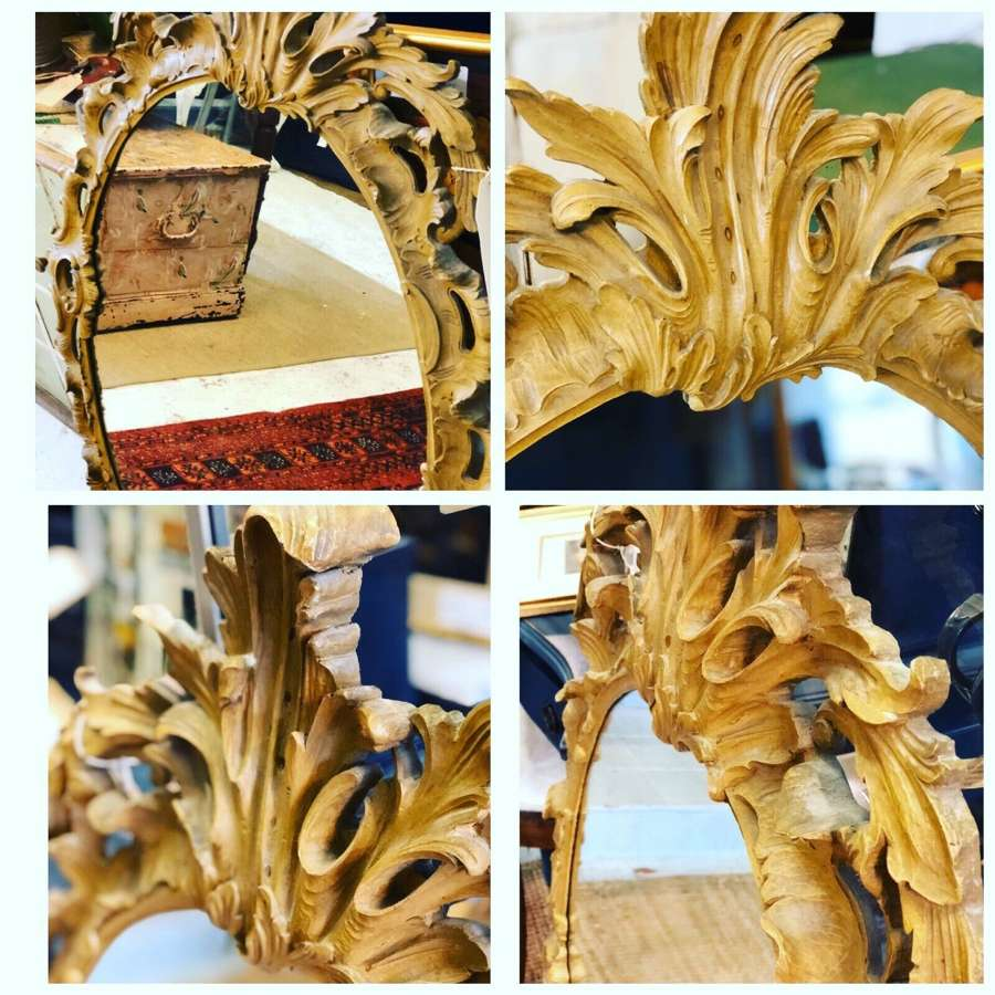 Faux wood Rococo mirror