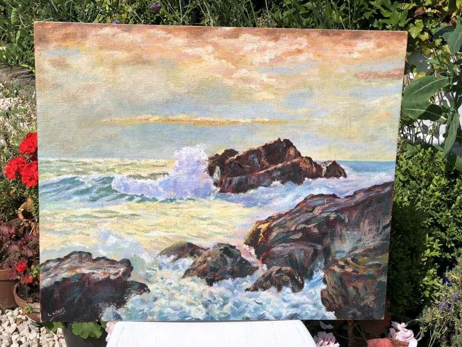 Stormy Seas L Louis Oil on Board