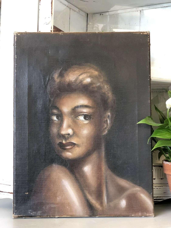 Vintage portrait on canvas