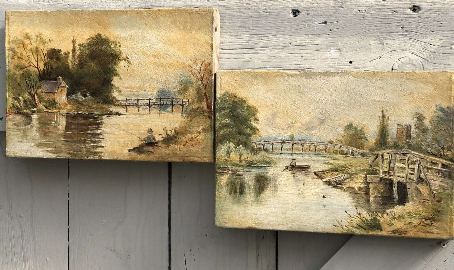 A Pair Of Country Landscape Scene Oil Paintings 1922 C.Wanklin