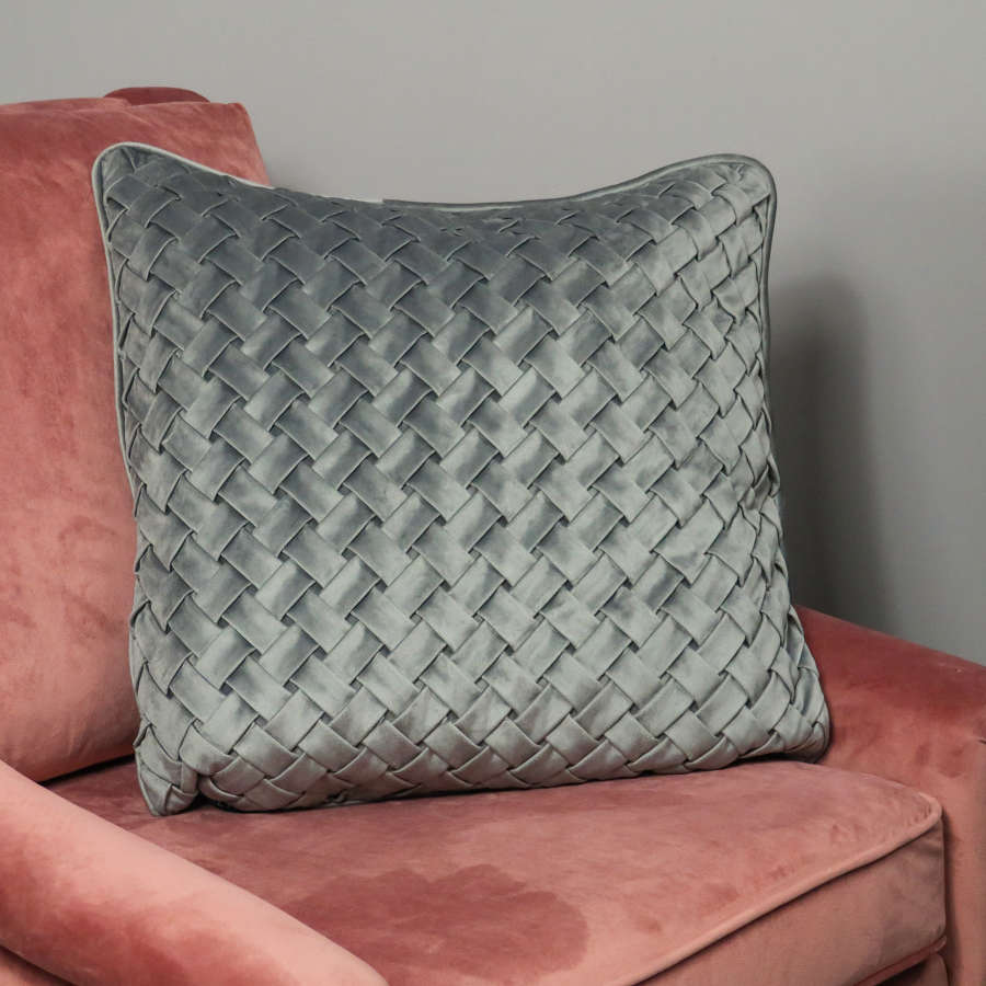 Woven grey velvet cushion cover