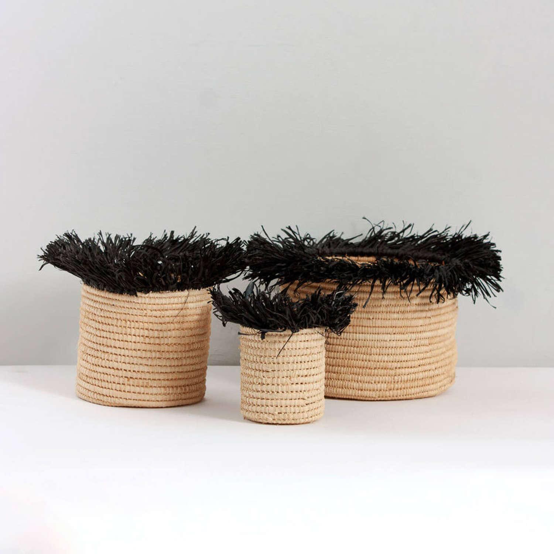 Raffia Tassel Storage Pots, Black