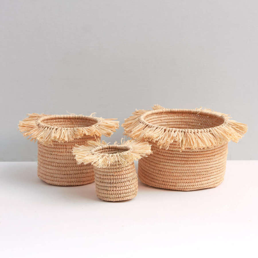 Raffia Tassel Storage Pots natural