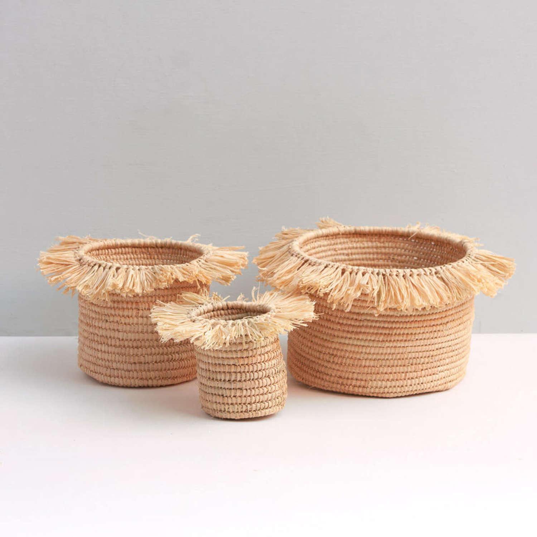 Raffia Tassel Storage Pots natural