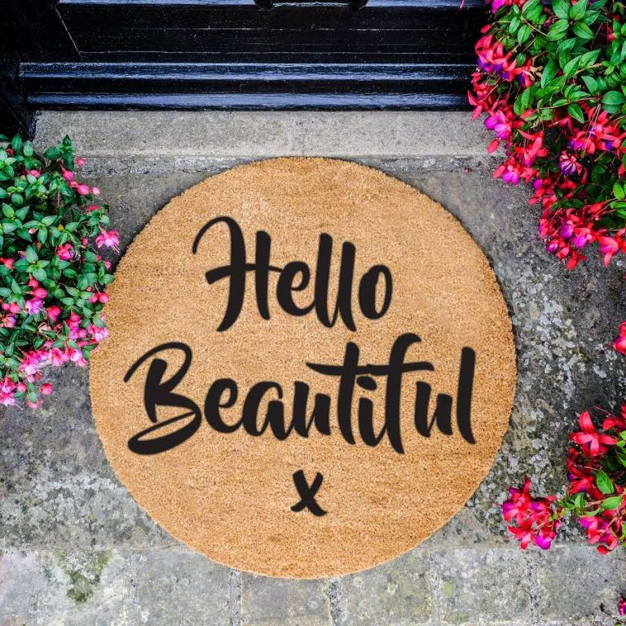 Hello Beautiful Circle Doormat