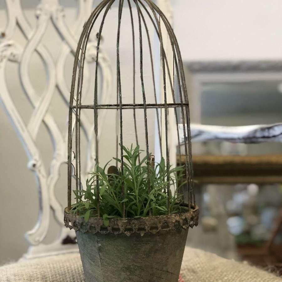 Vintage caged planter medium