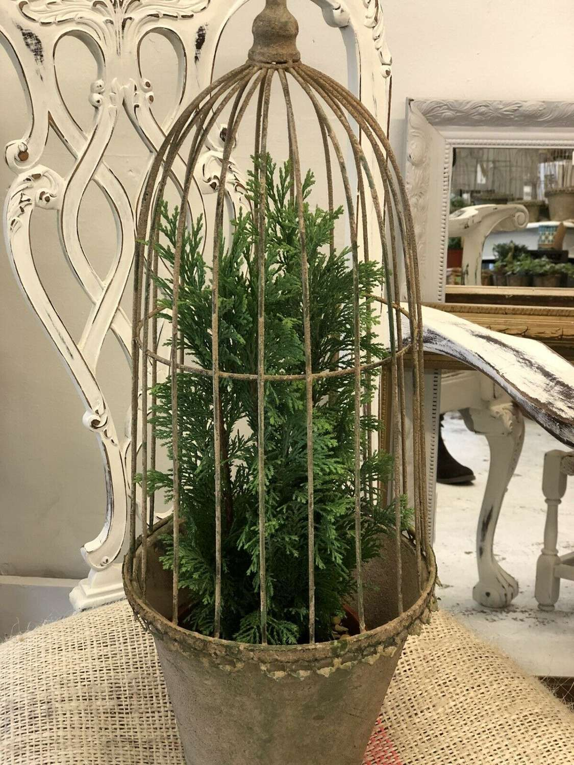 Large vintage style caged planter