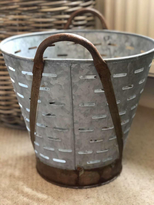 Vintage galvanised olive bucket