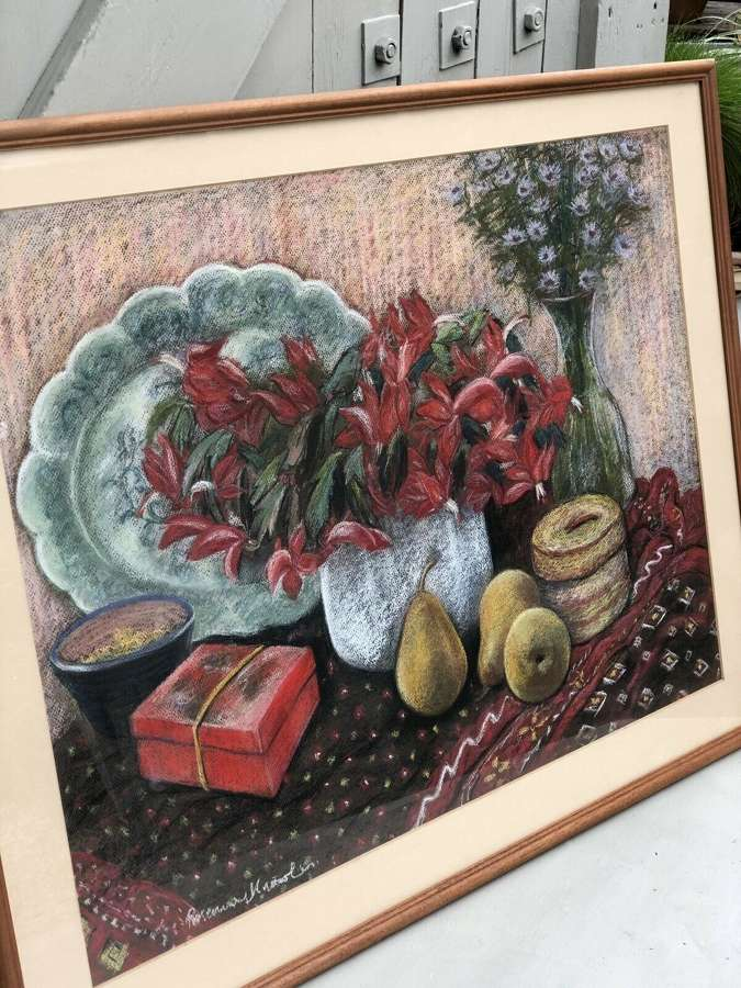 Vintage Still Life Pastel Painting Under Glass Rosemary Knowles.