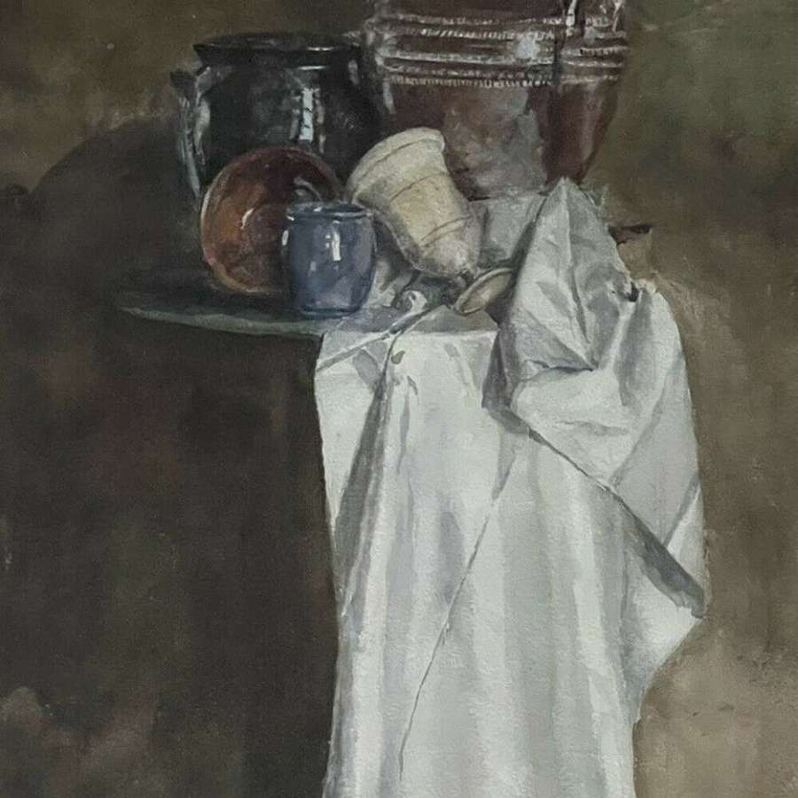 Watercolour Painting Still Life Studio Pottery Countess of Powys