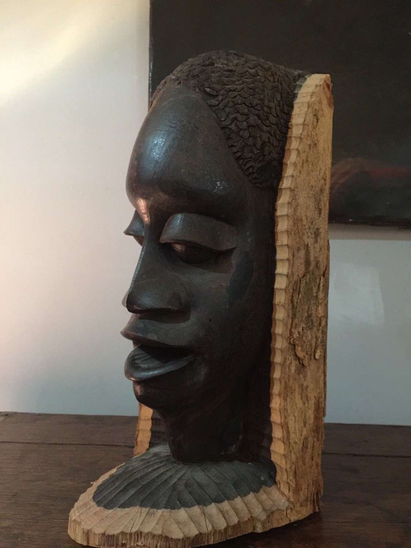 Vintage African Carved Figure Tribal Art Bust
