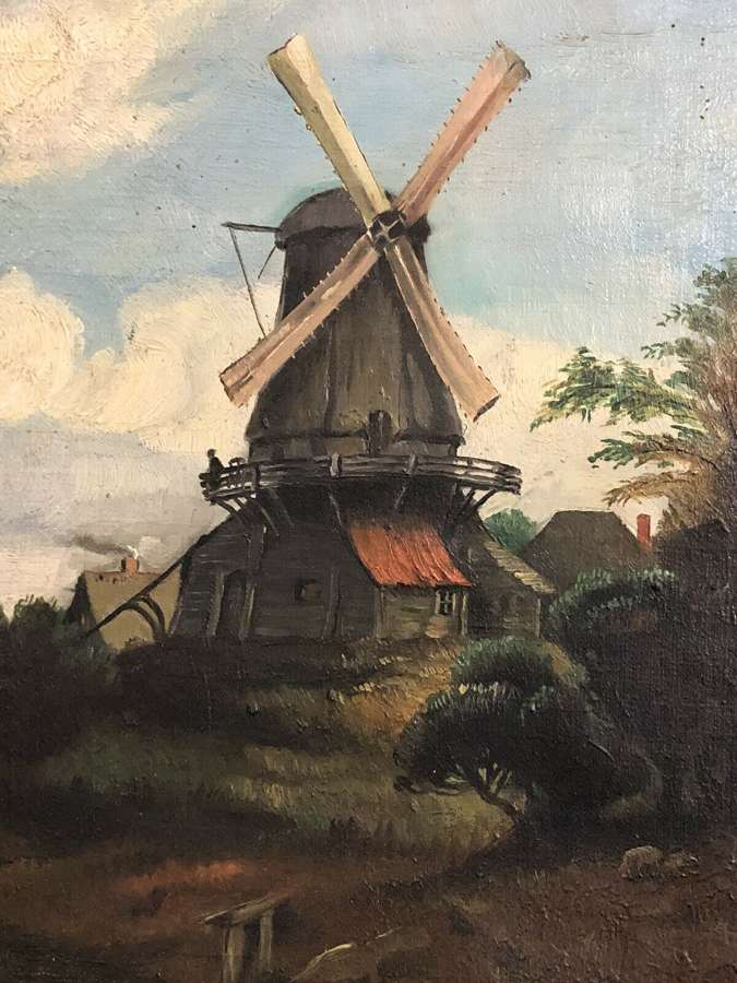 19th Century windmill canvas