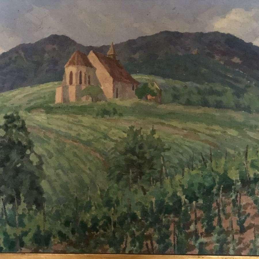Vintage French Impressionist Landscape Painting.