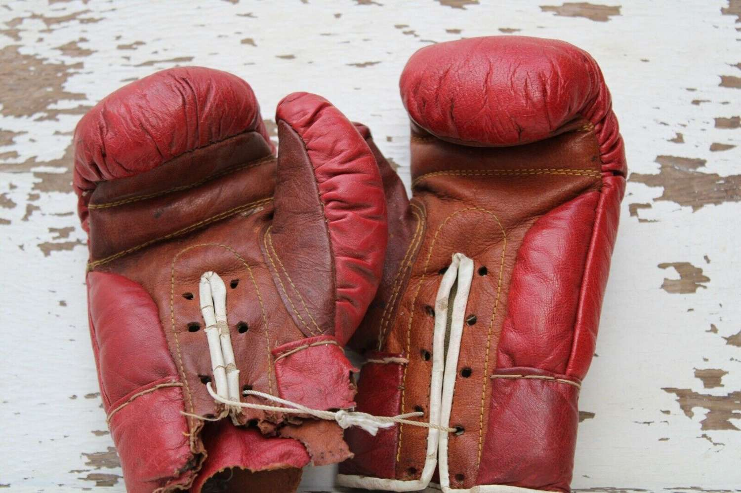Red leather kids boxing gloves