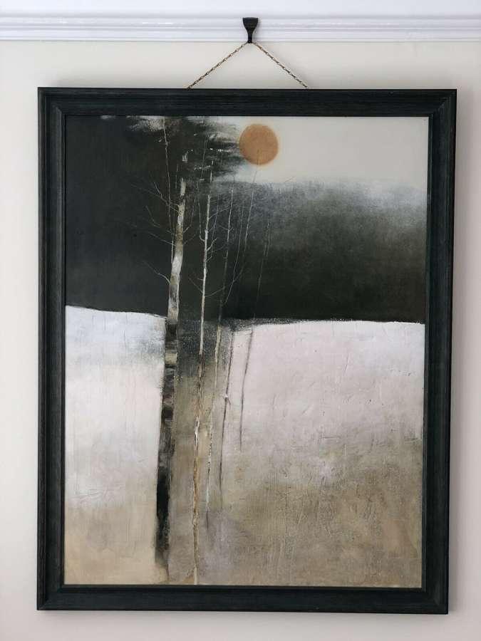 "Chris Wild ""Winter Trees 11"" Mixed Media Painting"