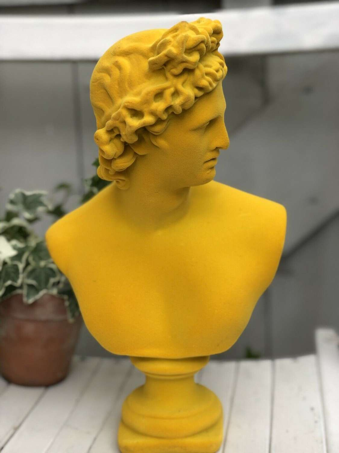 Yellow bust of Apollo