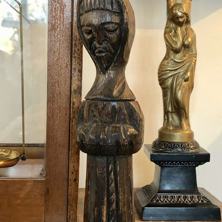 Antique Treen Carved Figure Of A Monk / Saint