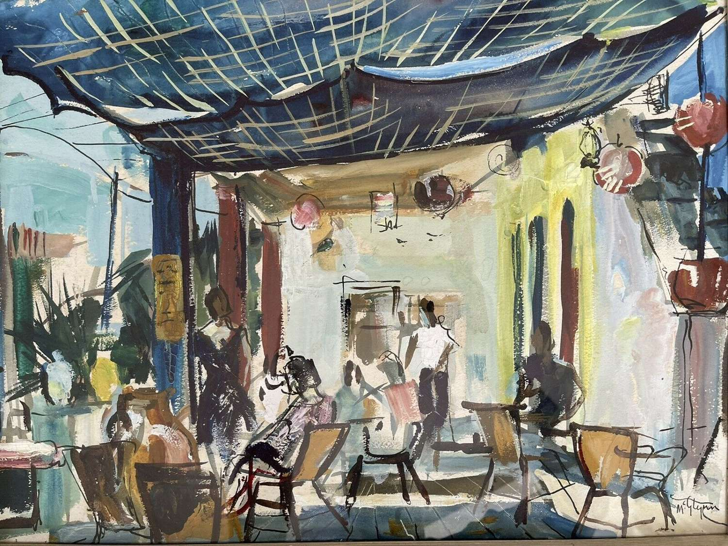 Terry Mcglynn Original Oil On Paper Cafe Scene.