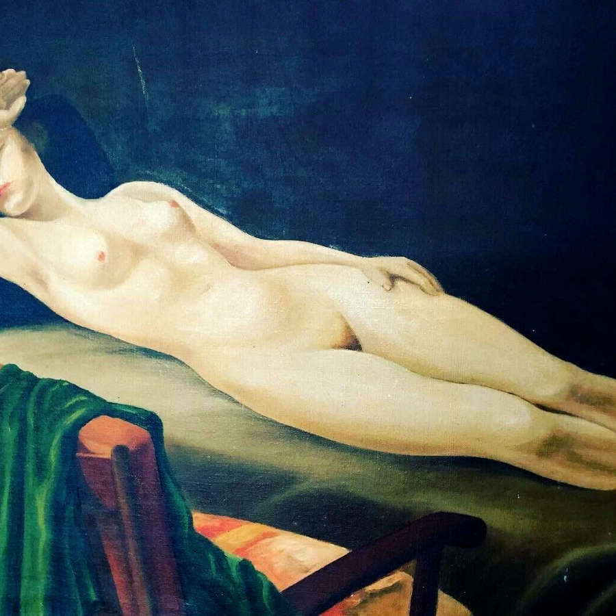 Reclining nude on canvas