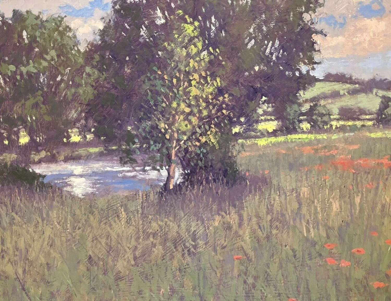 Stream And Poppies Oil On Board Original Landscape Umborne Devon