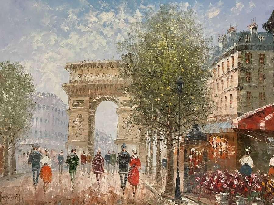 Parisian Street Scene Oil On Board.