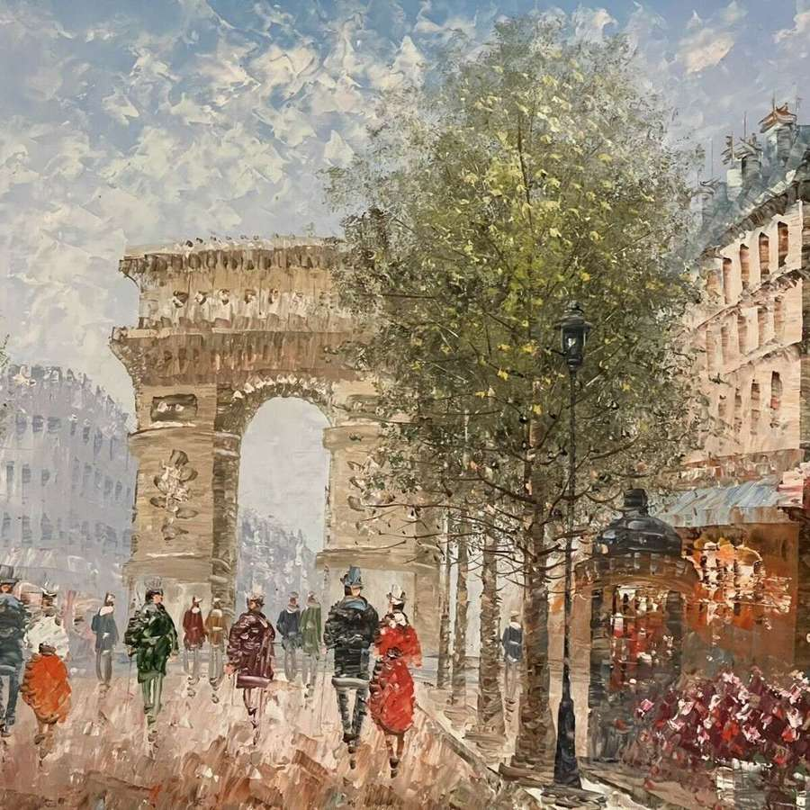 Parisian Street Scene Oil On Board.