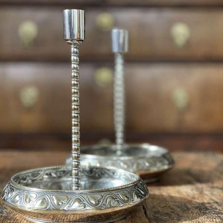 WMF Silver Plate Jugendstil Candlesticks.