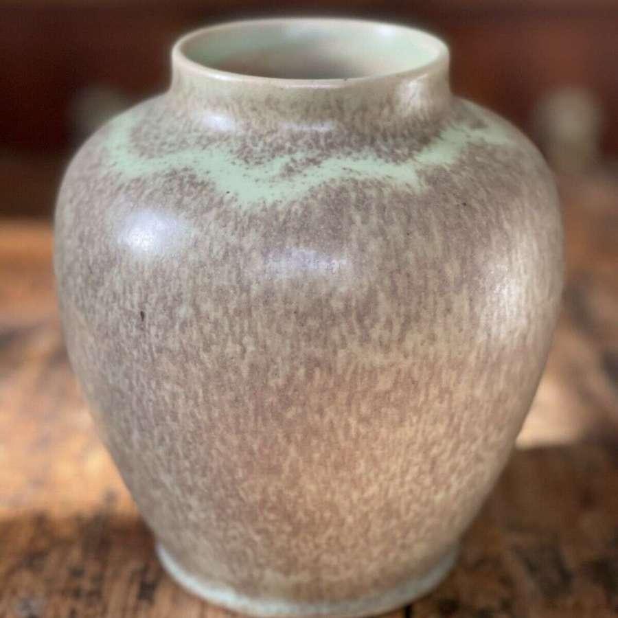 Royal Doulton green speckle vase