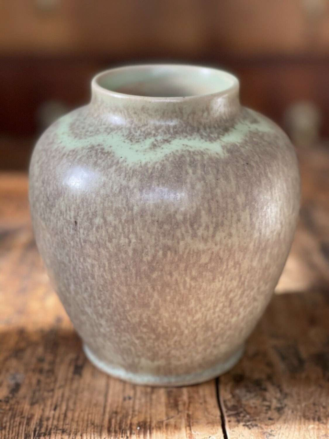 Royal Doulton green speckle vase