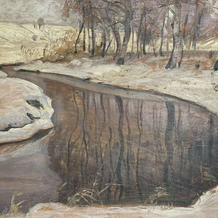 Alfred Junge Oil On Board Snowy River 1922.