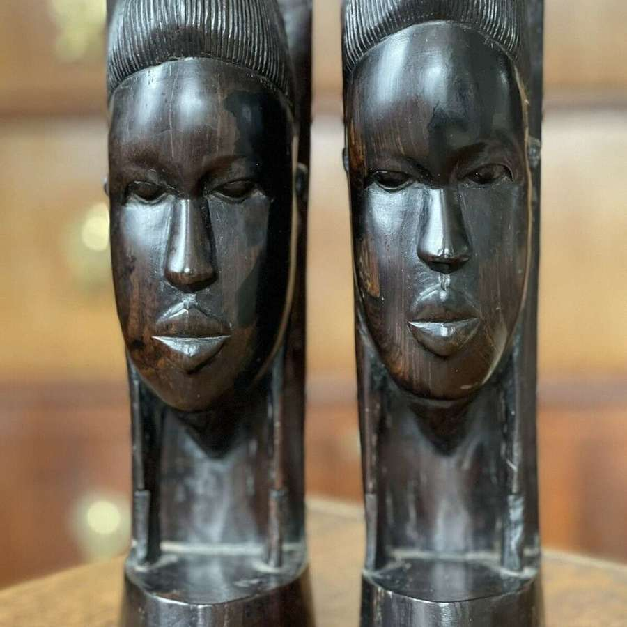 Tribal ebony bookends