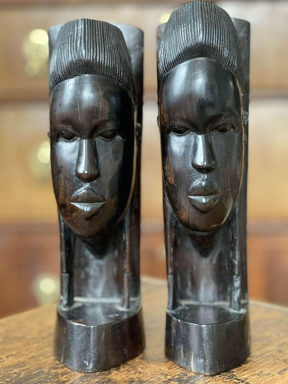 Tribal ebony bookends