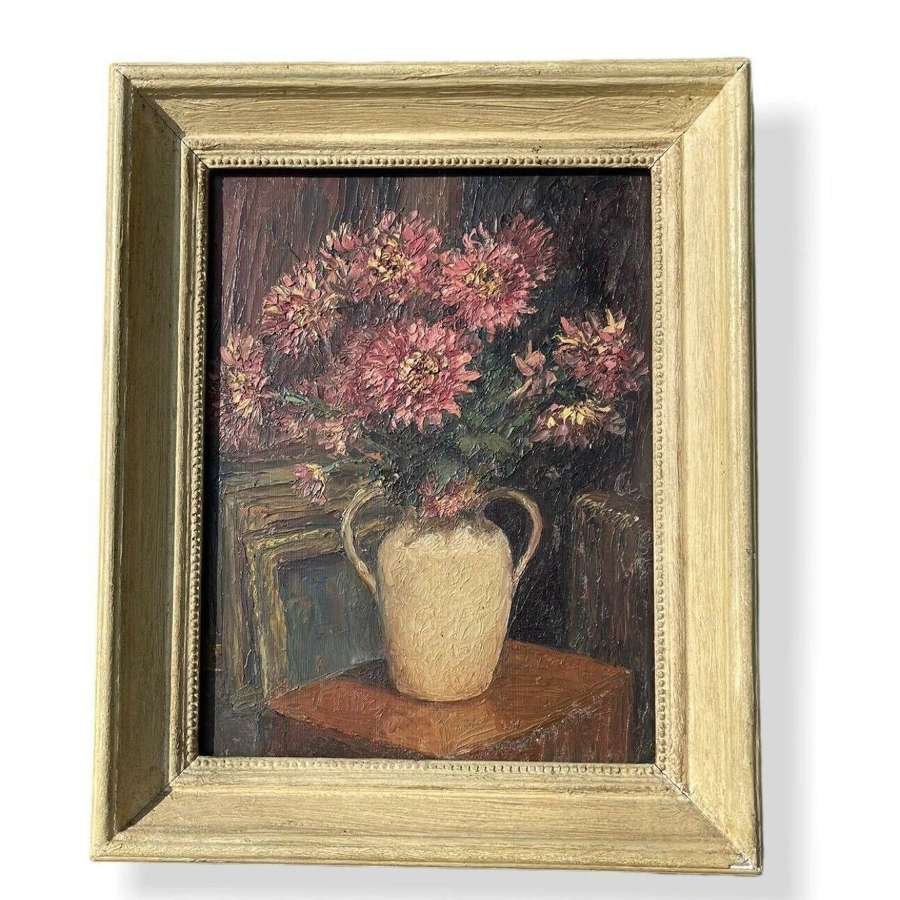 Piero Sansalvadore Chrysanthemums Oil On Board Painting Still Life.