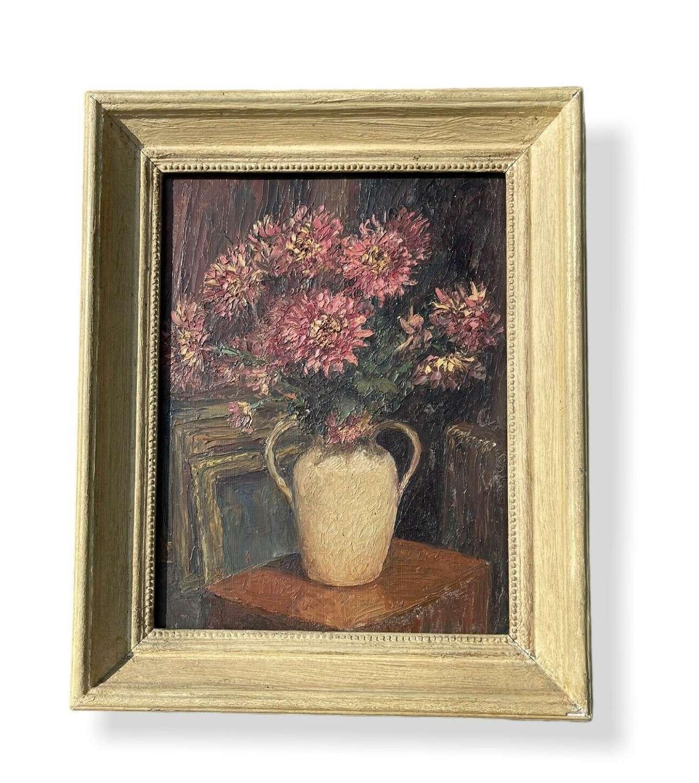 Piero Sansalvadore Chrysanthemums Oil On Board Painting Still Life.