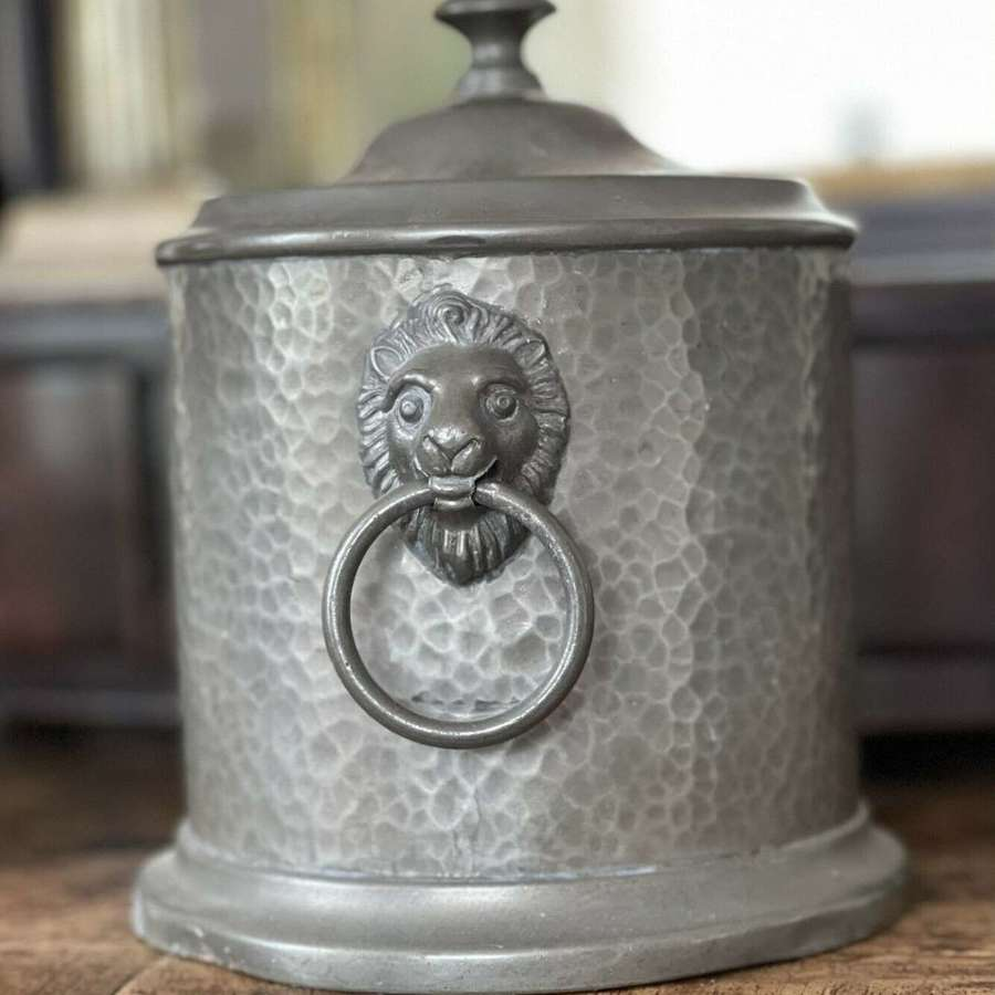 English pewter biscuit barrel