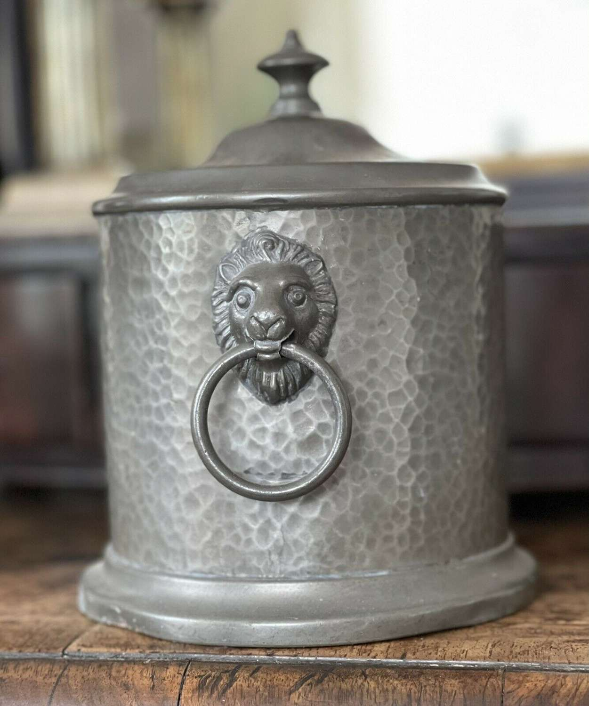 English pewter biscuit barrel