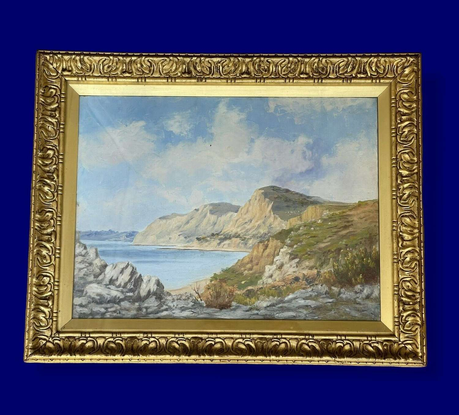 Sandy cove oil on canvas painting